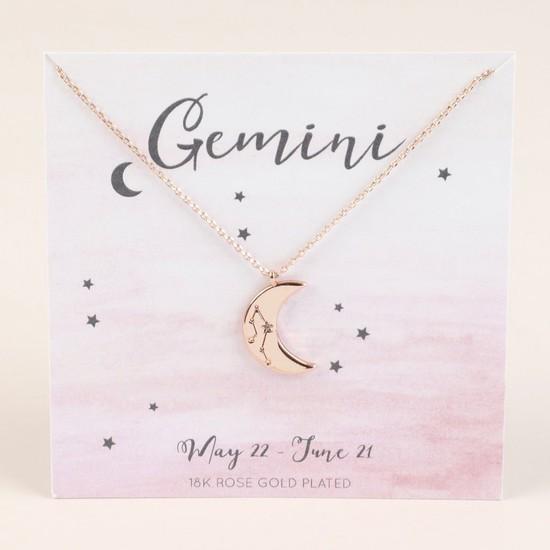 Rose Gold Constellation Moon Pendant Necklace - Gemini