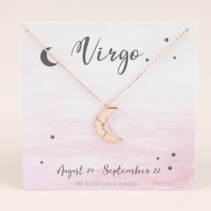 Rose Gold Constellation Moon Pendant Necklace - Virgo