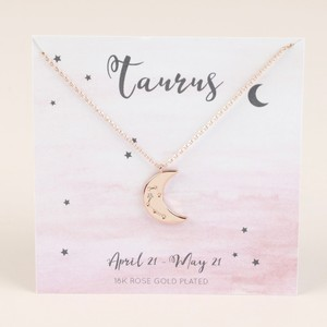 Rose Gold Constellation Moon Pendant Necklace - Taurus
