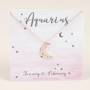 Rose Gold Constellation Moon Pendant Necklace - Aquarius