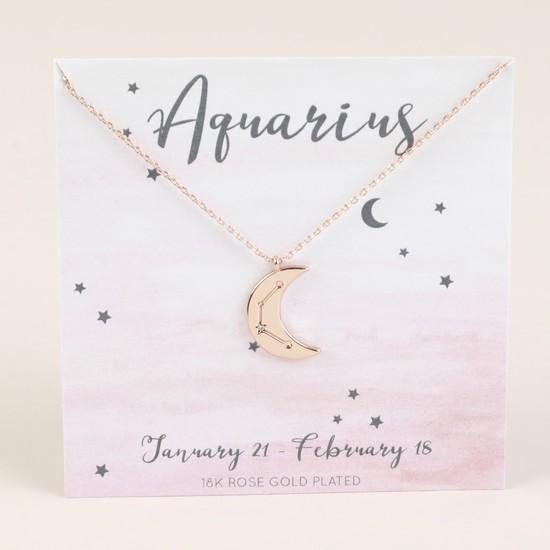 Rose Gold Constellation Moon Pendant Necklace - Aquarius