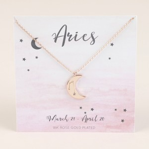 Rose Gold Constellation Moon Pendant Necklace - Aries