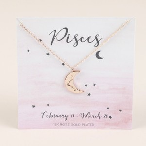 Rose Gold Constellation Moon Pendant Necklace - Pisces