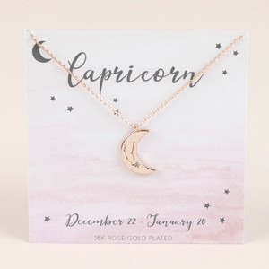 Rose Gold Constellation Moon Pendant Necklace - Capricorn