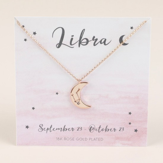 Rose Gold Constellation Moon Pendant Necklace - Libra