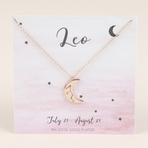 Rose Gold Constellation Moon Pendant Necklace - Leo