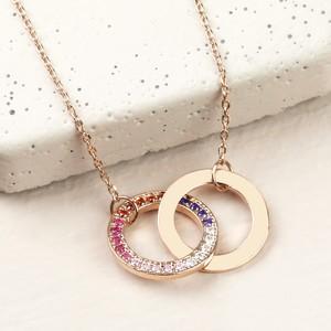 Rainbow CZ stone Interlocking Circle Necklace in Rose Gold