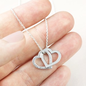 Sterling Silver Interlocking Crystal Hearts Necklace With Sterling Silver Trace Chain