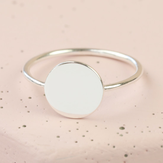 Sterling Silver Disc Signature Ring - S/M