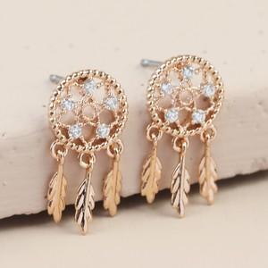 Rose Gold Clear gem Dreamcatcher Stud Earrings