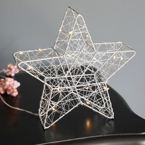 Battery LED Silver Wire Standing Star - Small 20cm