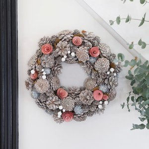 Pink Pinecone Christmas Wreath