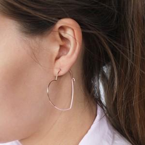Rose Gold & Pink Heart Hoop Earrings