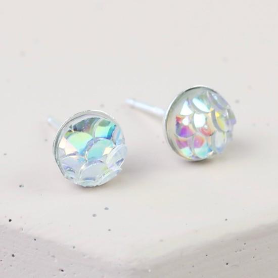 Sterling Silver Irridescant Mermaid Effect Stud Earrings