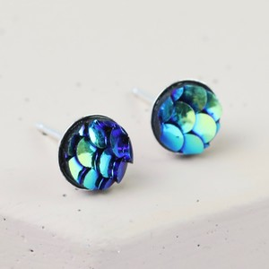 Sterling Silver Petrol Mermaid Effect Stud Earrings