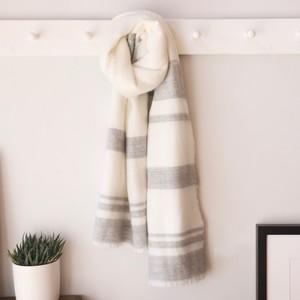 Cream & Grey Striped Blanket Scarf