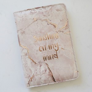Pink Marble 'Sunshine on My Mind 'Passport Holder