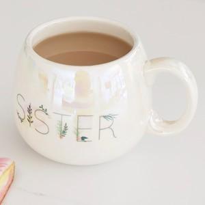 Iridescent Floral 'Sister' Mug