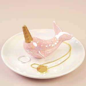 Iridescent Pink Narwhal Jewellery Dish