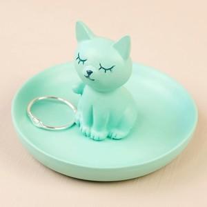 Mini Cat Jewellery Dish in Green
