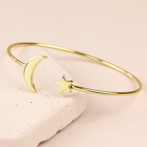 Gold Moon and Star Bangle