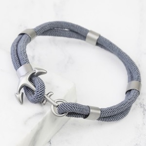 Men's Grey Silver Anchor bracelet - Large