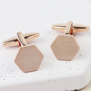 Brushed Hexagon Cufflinks - Rose Gold