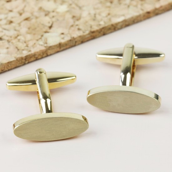 Brushed Oval Cufflinks - Gold