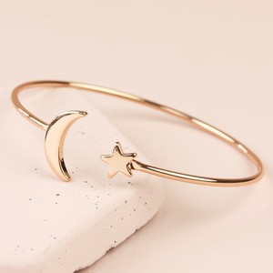 Rose Gold  Moon and Star Bangle