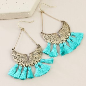 Antique Gold and Teal Tassel Drop Earrings