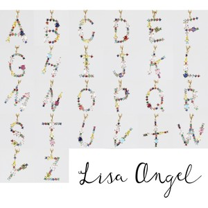 Rainbow Crystal Initial Necklace in Gold - C