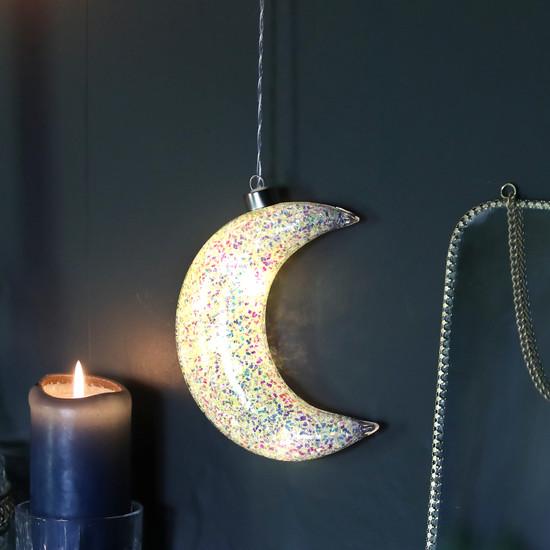 Glitter LED Hanging Moon Light