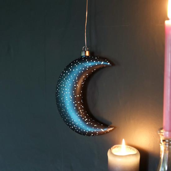 Teal LED Hanging Moon Light
