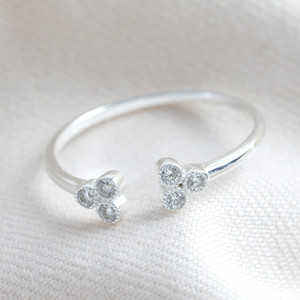 Diamante triple ball double adjustable STS ring