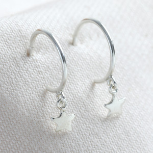 Sterling Silver Star Charm Hoop Earrings