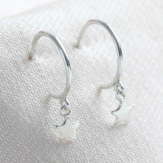 Sterling Silver Star Charm Hoop Earrings