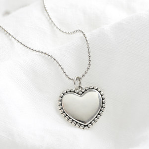 Large Sterling Silver Heart Pendant on ball chain Necklace