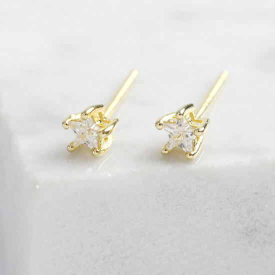 Sterling silver star earrings -Gold