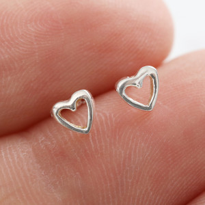Tiny heart outline studs in 925 sterling silver