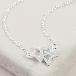 Double Outline Star Short Necklace in Silver