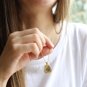Wax Seal Necklace in gold plate