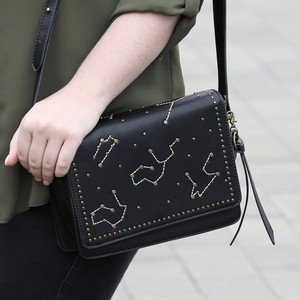 Black and Gold Studded Constellation Shoulder Bag