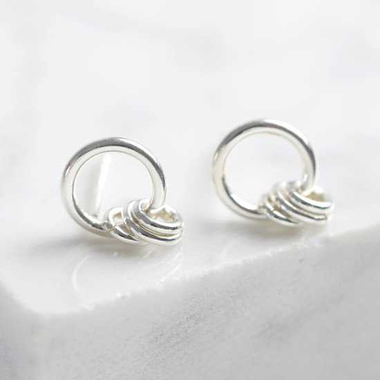 Silver 925 small hoop stud with multi rings.