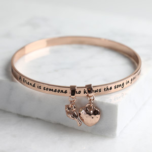 New 'Friend' Meaningful Word Bangle Rose Gold
