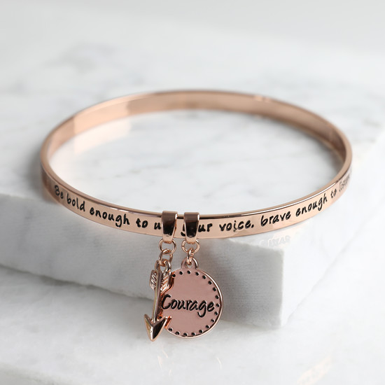 New 'Bold and Brave' Meaningful Word Bangle Rose Gold