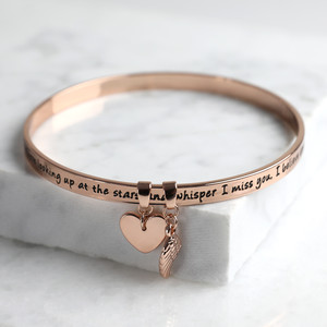 New 'Never Forgotten' Meaningful Word Bangle Rose Gold
