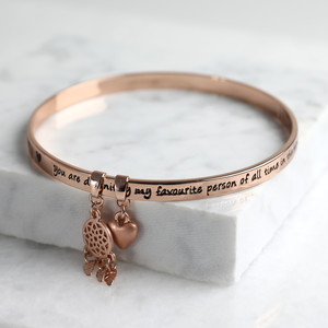 New 'Favourite Person' Meaningful Word Bangle Rose Gold