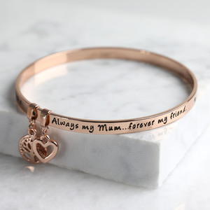 New 'Always My Mum Forever My Friend' Meaningful Word Bangle Rose Gold