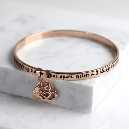 New 'Sisters' Meaningful Word Bangle in Rose Gold