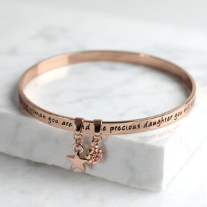 New 'Precious Daughter' Meaningful Word Bangle Rose Gold